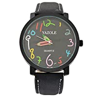 Sourts Lovers Multicolor Number Dial Wrist Quartz Analog Watch with Artificial Leather Band 25cm