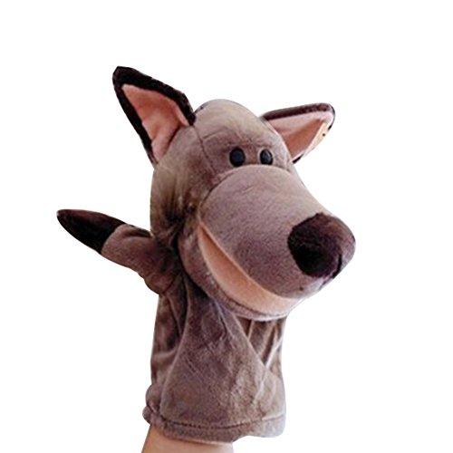 Yontree Marionnettes à Main Mini Poupée Peluche Forme Animaux Jouet Jeux Cadeau Bébé Loup gris