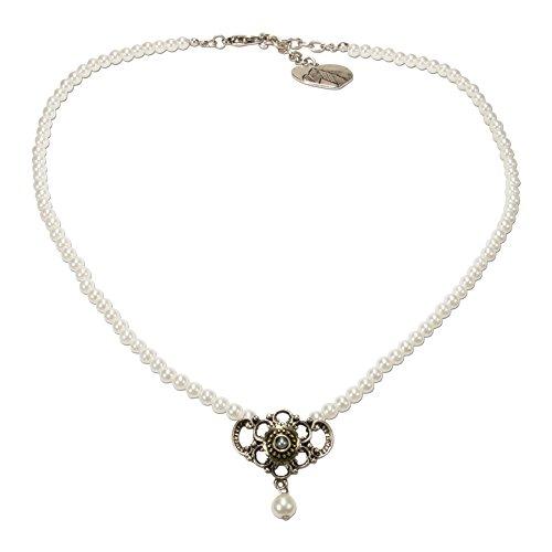 Alpenflüstern Perlen-Trachtenkette Hedi - nostalgischer Damen-Trachtenschmuck mit Zier-Element bicolor-farben, filigrane Dirndlkette creme-weiß DHK214
