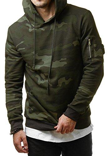 EightyFive Herren Camouflage Hoodie Kapuzenpullover Sweater Grün Grau Grey Camo EF1002