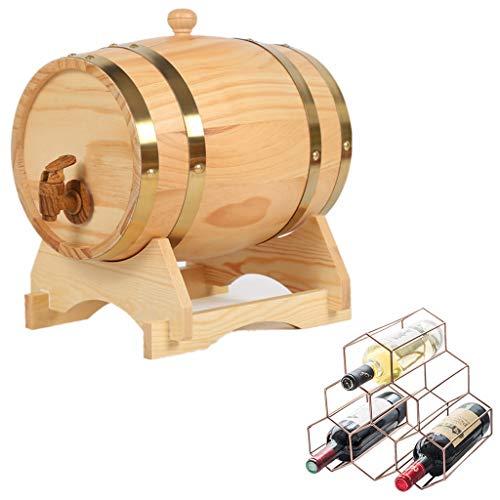 NACK Whiskey Barrel, 20L Vintage Oak Whiskey Bucket Water Dispenser with Bottle Rack for Storing Beer, Liqueur, Honey, Hot Sauce (Color : Natural color, Size : 20L)