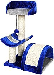 Mumoo Bear Cat Tree Condo Furniture, Blue/White