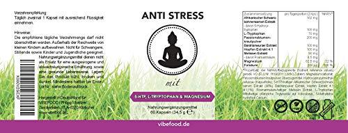 ANTI STRESS   STIMMUNGSAUFHELLER   WOHLBEFINDEN & AUSGEGLICHENHEIT   STRESS SENKEN   Mit 5-HTP, L-TRYPTOPHAN, BALDRIAN, PASSIONSBLUME, MELISSE   VEGAN   MADE IN GERMANY