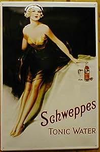 Schweppes tonic water plaque de tôle en métal publicité