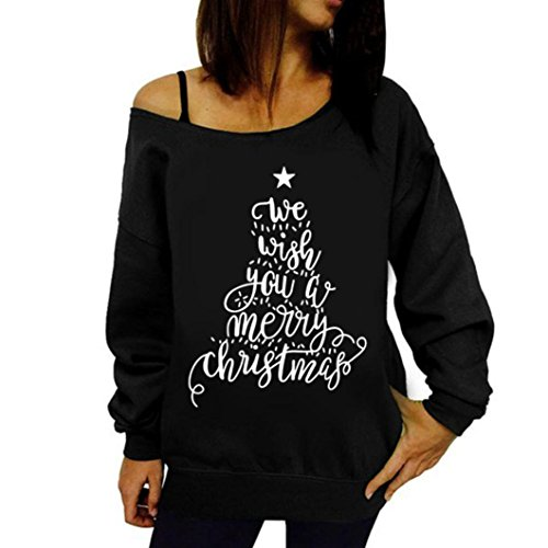 *Hansee Frauen top, Frauen Gedruckt Brief Weihnachten Langarm Sweatshirt Pullover Tops Bluse Shirt (Schwarz, L)*