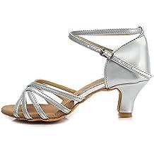 YKXLM Mujeres&Niña Zapatos Latinos de Baile Zapatillas de Baile de Salón Salsa Tango Performance Calzado de Danza,Modelo ES213