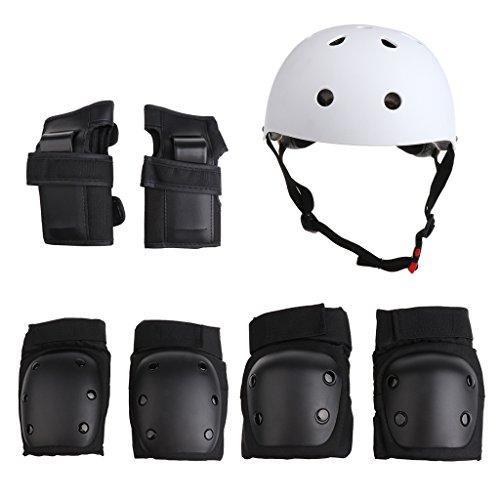 MagiDeal 7 stück Kinder Knieschoner Ellenbogenschoner Handgelenkschutz Helm für Rollschuh, Inline Skates, Skateboard - Schwarz-Weiss, S