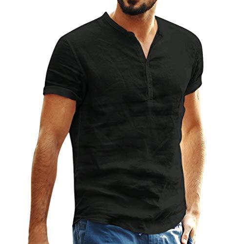 Beikoard Herren Sommer Hemd Regular Fit Oberteile Vantage Männer Casual Kurzarm Baumwolle Leinen Shirts Fashions Männlichen Lose Taste-bis Henley Shirts (Schwarz, S)