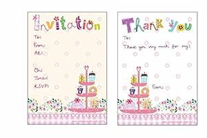 Jodds 8Purpurina Pastel Invitaciones de Fiesta con 8Gracias a Juego y Purpurina