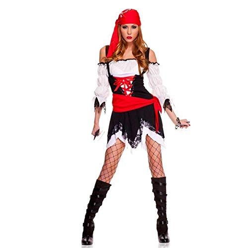 Fashion-Cos1 Halloween Sexy Frauen Piraten Kostüm Party Weibliche Piraten Kapitän Cosplay Kostüm Mit (Pirat Halloween Kostüm Weiblich)