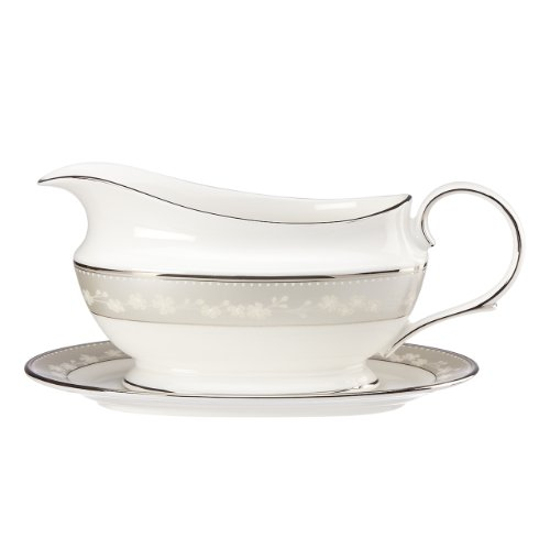 Lenox Bellina Sauce Boat and Stand, White by Lenox Lenox Sauce Boat
