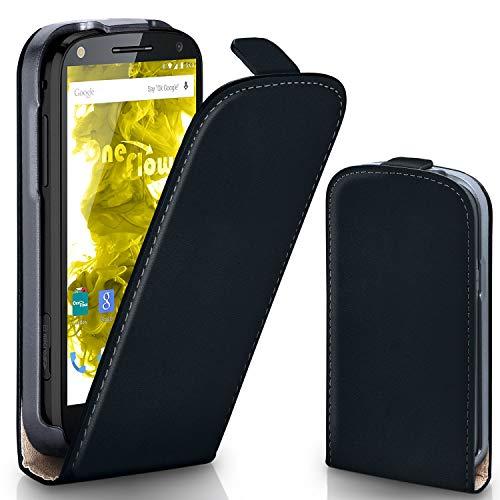 moex Motorola Moto X Force | Hülle Schwarz 360° Klapp-Hülle Etui Thin Handytasche Dünn Handyhülle für Motorola Moto X Force Case Flip Cover Schutzhülle Kunst-Leder Tasche