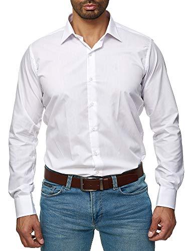 J'S FASHION Herren-Hemd - Slim Fit - Bügelleicht - Langarm-Hemd für Business Freizeit Hochzeit - Weiß - L - Herren Langarm-hemd