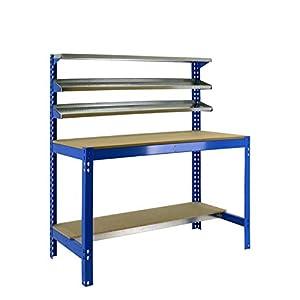 Banco de trabajo BT1 Simonwork Azul/Madera Simonrack 1445x910x610 mms – Banco de trabajo resistente – mesa de trabajo industrial 400 Kgs de capacidad por estante