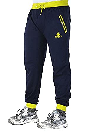 Finger's Men's Cotton Ribbed Track Pants With Zipper Pockets (40, Navy Blue-Yellow)