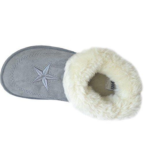 Damen Hausschuhe Stiefel Winter Warm Manschette Fur Stiefel Schuhe Größe EU 36 - 7 Grau