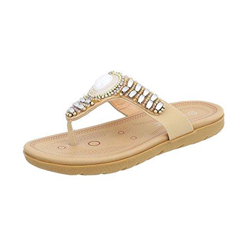 Zehentrenner Damen-Schuhe Zehentrenner Zehentrenner Ital-Design Sandalen & Sandaletten Beige, Gr 41, Ly7018-
