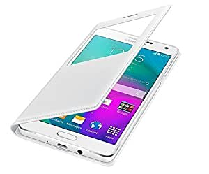 True Collection LEATHER CALLER ID Flip Case Cover For Samsung Galaxy Grand 2 (SM-7106) - WHITE