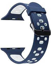 Apple Watch Series 3 Correa 42mm,iBazal iWatch Correa de Silicona con Estuche Protector TPU GRATIS para 42mm Apple Watch Nike+/ Series 3/Series 2/ Series 1 Versión - Azul / Blanco 42mm