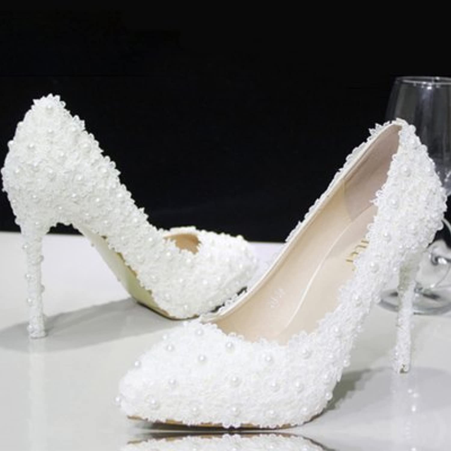 VIVIOO Prom Sandals scarpe Crystal scarpe Wedding scarpe scarpe scarpe Bridal scarpe Pearls Lace Flowers bianca Pumps High Heel,8 | Cheapest