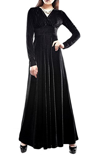 YMING Femme Robe Velours Robe de Soirée Robe Cocktail Manches Longues Col V Robe Maxi Noir