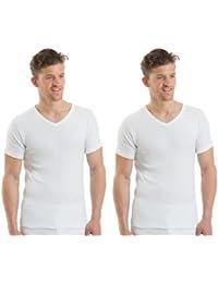 2COZEE - Haut Home /Garçon Paquet de 2 Sous Vêtement Thermiques Col V Manches Courtes 8 x 1 Différentes Tailles et Couleurs