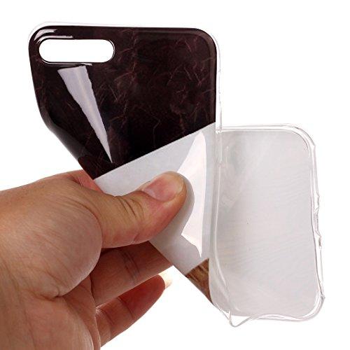 iPhone 7 Plus Hülle Marmor, iPhone 8 Plus Case Rosa Schleife Ultra Dünn Slim Silikon Backcover mit Bunte Marmor Muster Bumper Schale Schutzhülle Handyhülle für iPhone 7 Plus / 8 Plus Weiß Schwarz Braun Marmor