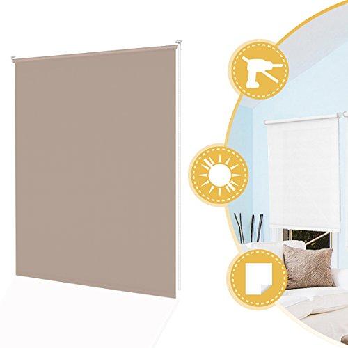 Klemmrollo Rollos Tageslichtrollo Klemmfix Ohne Bohren für Fenster Tür Beige 90 x 160 cm Seitenzugrollo Wandmontage mit Klemmträger