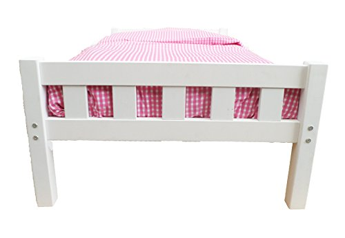 Girls White Wooden Toddler Bed 7 Piece Set Inc Fibre Mattress and Pink Gingham Bedding
