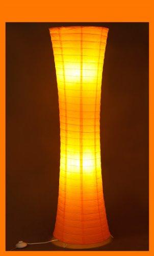 Trango Reispapier Stehleuchte Stehlampe in modernem Design 125 x 35cm (Stehleuchte in orange TG1230)