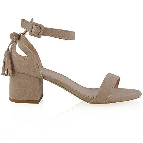 ESSEX GLAM Sandalo Donna Finto Scamosciato Cut-Out Tacco a Blocco Cinturino Caviglia Fiocco Carne Finto Scamosciato