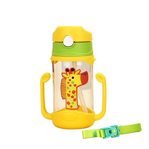 JP0SDD 400 ml de biberón de silicona Los niños aprenden a beber tazas Tazas rebotadoras Manijas Correas Dibujos animados Bebé Manija de agua potable, Ye
