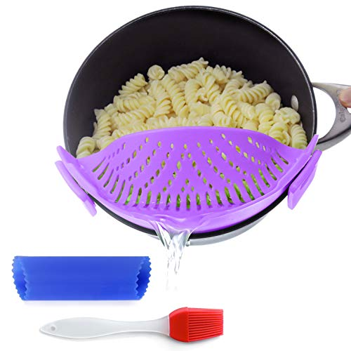 Snap Sieb und Sieb Snaps an Schüsseln, Töpfen und Pfannen in der Küche aus Silikon inkl. Knoblauchschäler und Bratpinsel von Salbree, violett -