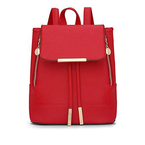 LaoZan Donne Casuale Elegante Solido Colore Preppy Stile Zaini Viola Chiaro Rosso