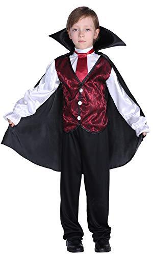 DEMU Kinder Vampir Kostüm JungenDracula Umhang Halloween Cosplay Fasching ()
