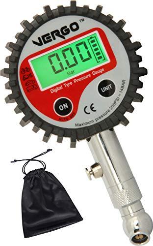 VERGO Jauge Digitale de Pression des Pneus - Manomètre Digital pour Pneus de Voiture Auto Camion Moto -Ecran LCD éclairé - Unités de Mesure Bar, Psi, kPa, kg/cm2-0-200 Psi/0-14 Bar-Batteries Incluses
