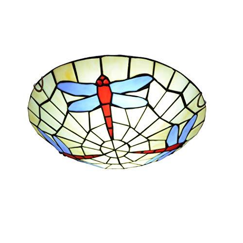 Handwerker-stil-schlafzimmer-möbel (Litaotao Tiffany-Stil Deckenleuchte 12 Zoll Schlafzimmer Deckenleuchte Vintage Dragonfly Shade Mit Schmiedeeisen Saugnapf Für Balkon Gang, 110-220V, E27)