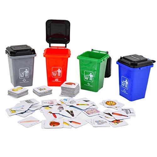 deAO Aprende a Reciclar en Inglés Juego de Mesa Educativo Infantil Clasificación de Desechos Set de Contenedores y Tarjetas en Inglés