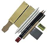 chiwanji Zeichenstifte für Künstler Set Kohle Kunst Bleistifte Sets - Graphit Bleistift-Set mit Radiergummi, Schleifpapier, Bleistiftspitzer.