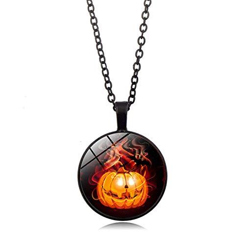 Blisfille Halloween Kürbis Zeit Edelstein Halskette Anhänger Halskette Pullover Kette Damen Herren Geschenk (Herr Innereien Kostüm)