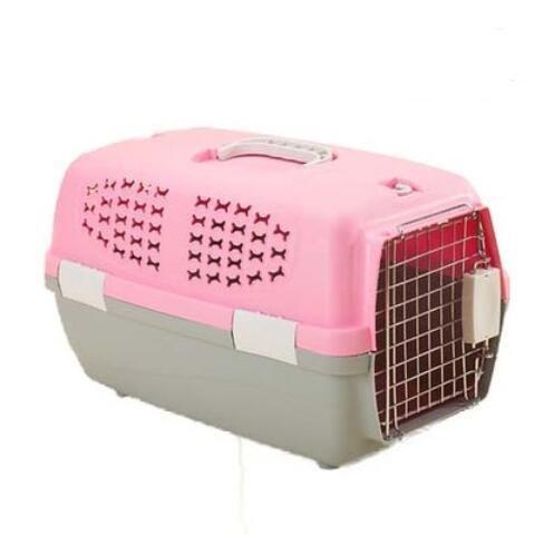 KKZLL Transportbox Box Katze Käfig tragbare Haustier Hund Luft Versandkarton, Hundebox , pink , l -
