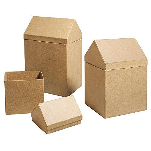 RAYHER Boxen Häuser, FSC Recycled 100 Prozent, Pappmaché, Natur, 14 x 11 x 22 cm, 3 Einheiten