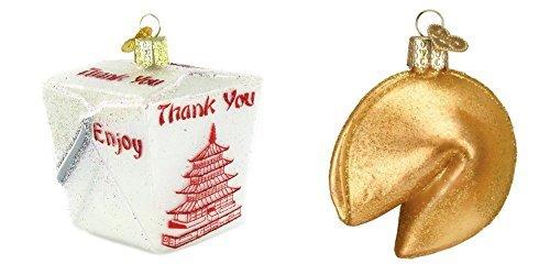 n Chinese Take Out Box und Fortune Cookie Glas geblasen Ornaments by, Lustige Chinese Food Liebhaber Geschenk ()