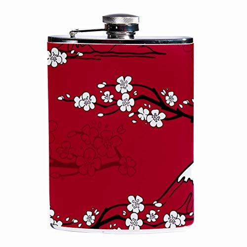 Leak Proof Liquor Hip Flask 7.6 oz Flagon Mug Leather Cover with Japanese Mount Fuji print Pocket Container for Discrete Shot Drinking of Whiskey Alcohol Liquor (Contour Bar Mount)
