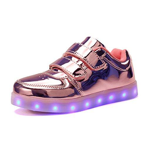 Voovix Kinder Schuhe mit Licht LED Leuchtende Blinkende Low-Top Sneaker USB Aufladen Shoes für Mädchen und Jungen(Rosa01/2,EU30)