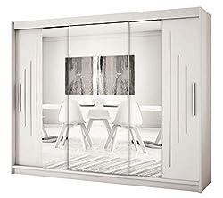 Kryspol Schwebetürenschrank York 2-250 cm mit Spiegel Kleiderschrank mit Kleiderstange und Einlegeboden Schlafzimmer- Wohnzimmerschrank Schiebetüren Modern Design (Weiß)