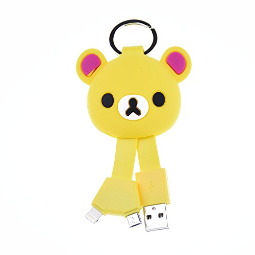 Belons lovely Bear silicone Key Chain 2-in-1 Lightning e micro USB di ricarica e cavo dati cavo di sincronizzazione per iPhone e dispositivi Android Di stile Yellow Yellow