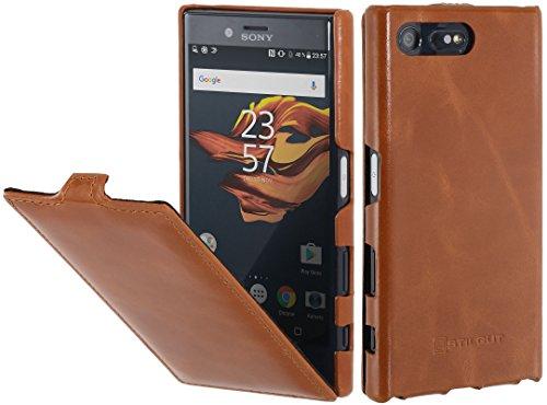StilGut UltraSlim Case Hülle Leder-Tasche kompatibel mit Sony Xperia X Compact, Cognac -