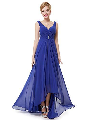 Ever-pretty scollo v abito da sera donna lunga high-low chiffon impero zaffiro blu 48