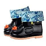 Timorly Entlein Schüler, Kleinkinder Kinder Jungen und Mädchen Baby Cartoon Ente Gummi Wasserdusche Warm Stiefel Regen Schuhe,Plus Samt Regen Stiefel, Regenstiefel, Rutschfeste Schuhe (28,Black A)